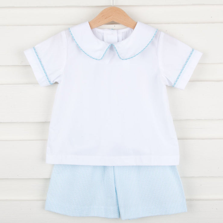 Striped Turquoise Collared Short Set Seersucker