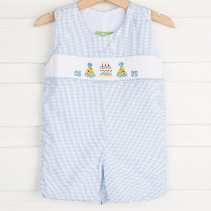 Birthday Smocked Shortall Light Blue Micro Gingham