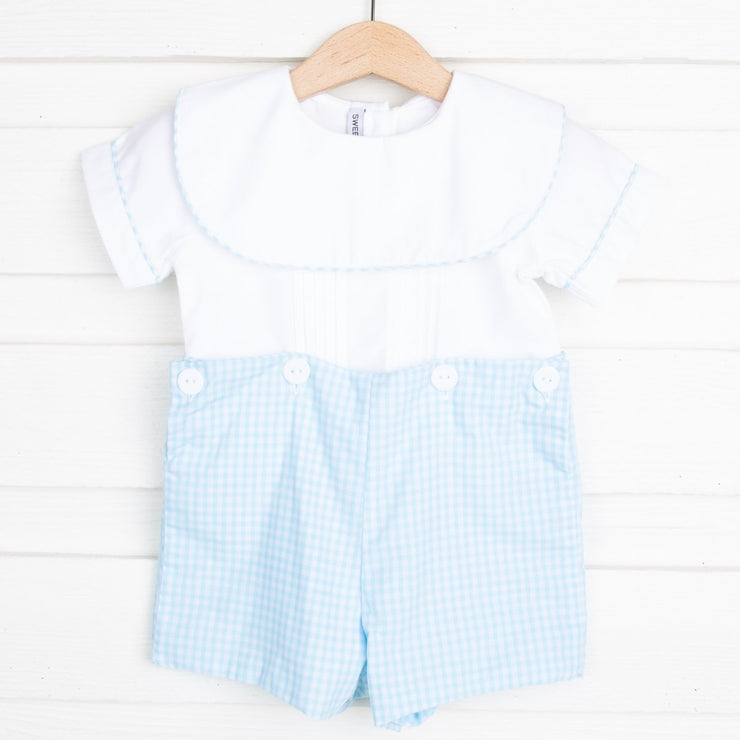 Button On Shortall Turquoise Gingham