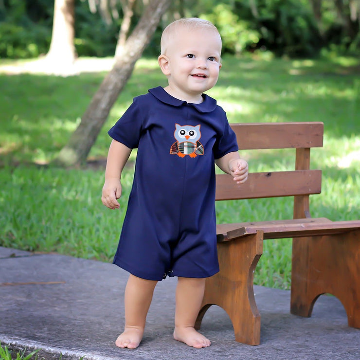 Owl Madras Collared Shortall Navy Knit
