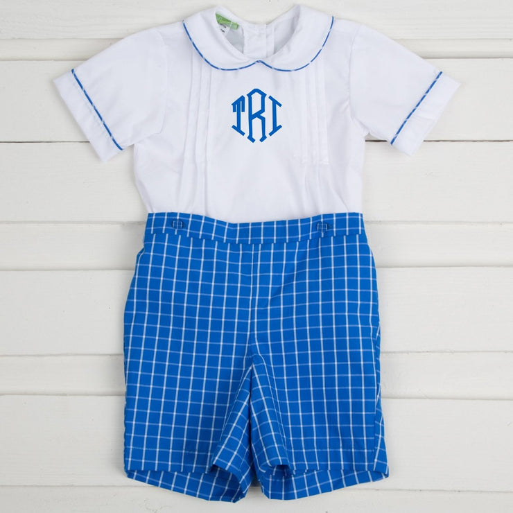 Pleated Button On Shortall Blue Check
