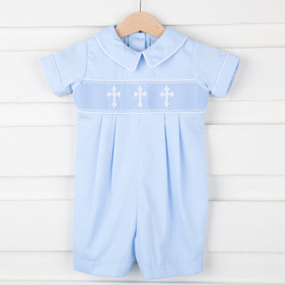 Smocked Cross Boy Romper Blue Pique