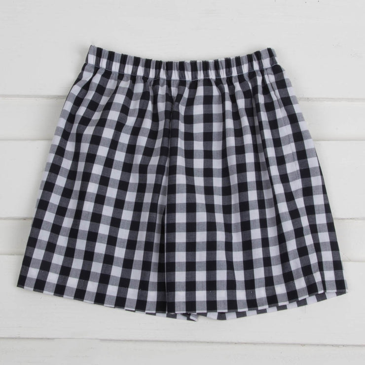 Black Check Shorts