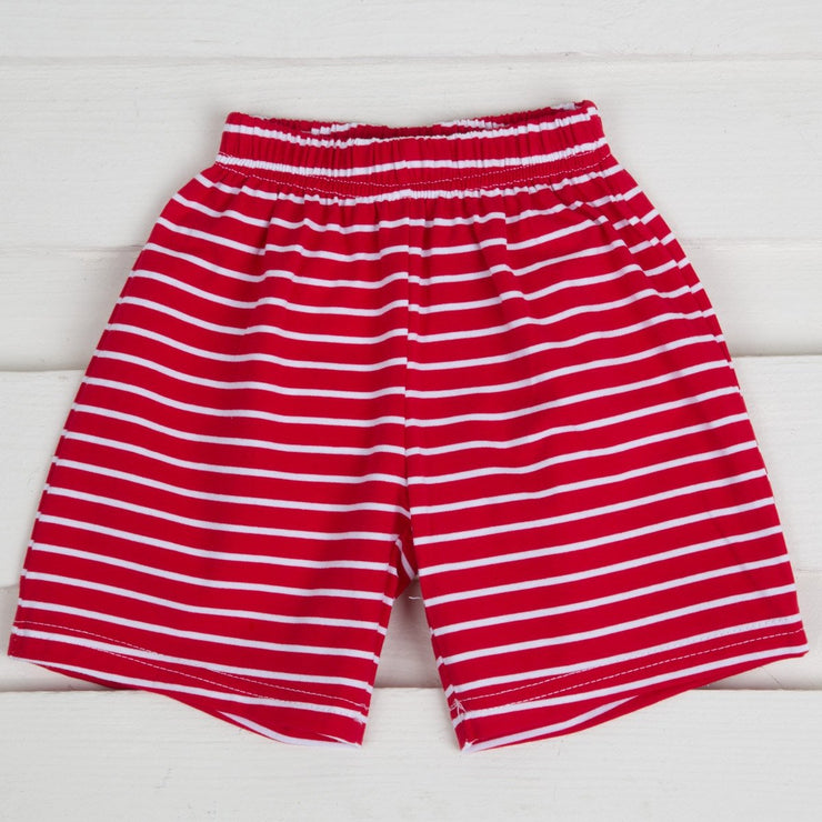 Red Knit Striped Shorts