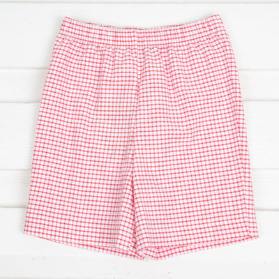Red Seersucker Shorts