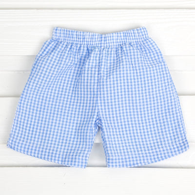 Seersucker Shorts Blue Gingham