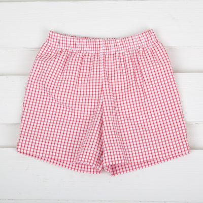 Seersucker Shorts Red Windowpane
