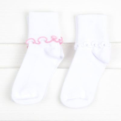 Pink and White Seamless Ripple Edge Socks