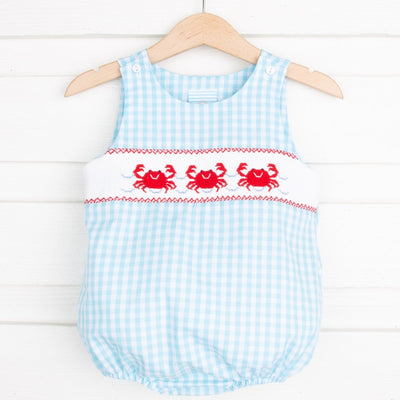 Crab Smocked Boy Sun Bubble Turquoise Check
