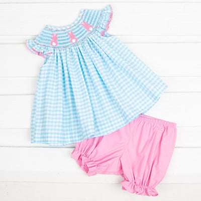 Bloomer Set Bunny Bum Smocked Light Turquoise Check
