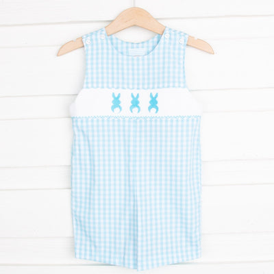 Bunny Bum Smocked Jon Jon Light Turquoise Check