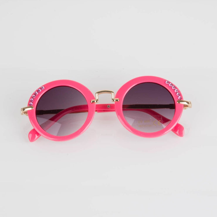 Circular Crystallized Sunglasses w Case