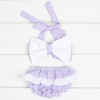 White Bow on Lavender Stripe Bikini