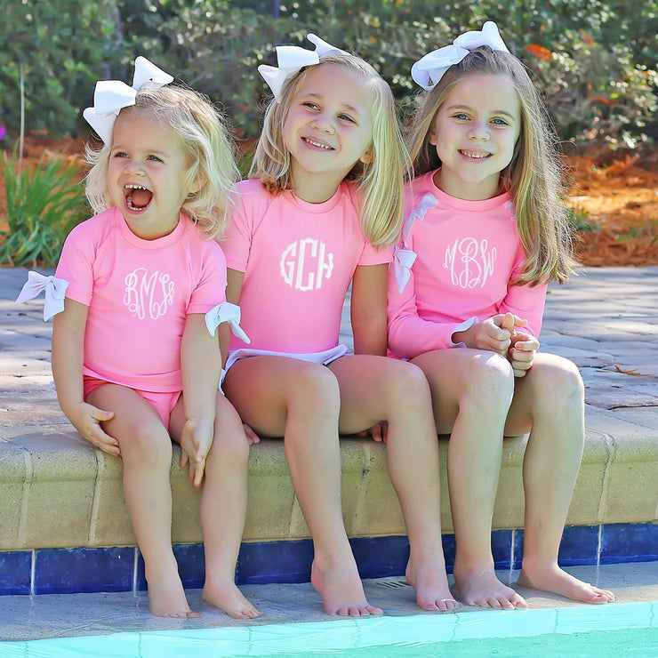 Bow Short Sleeve Rash Guard Set Cotton Candy