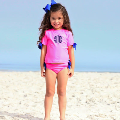 Bow Short Sleeve Rash Guard Set Hot Pink