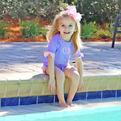 Bow Short Sleeve Rash Guard Set Lavender