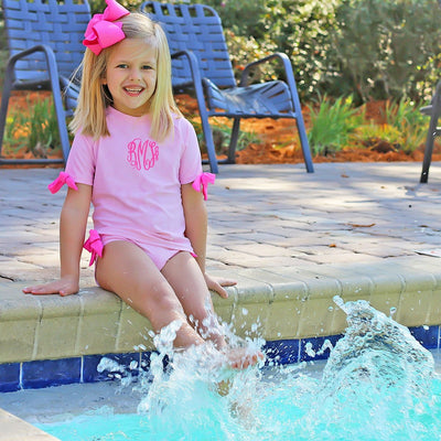 Bow Short Sleeve Rash Guard Set Light Pink