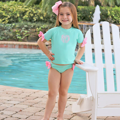 Bow Short Sleeve Rash Guard Set Mint