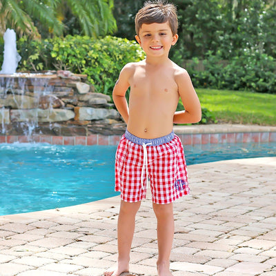 Boy Swim Trunk Red Seersucker Check