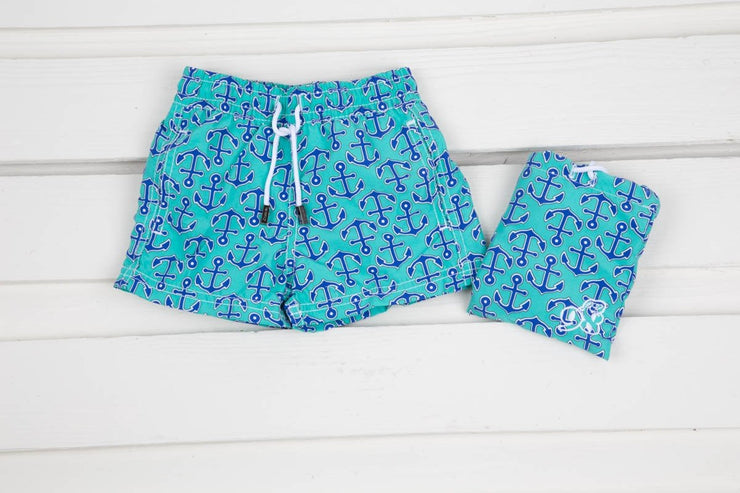 Boys Blue Anchor Swim Trunk