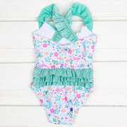 Cross Back Mermaid Lagoon Swimsuit Mint