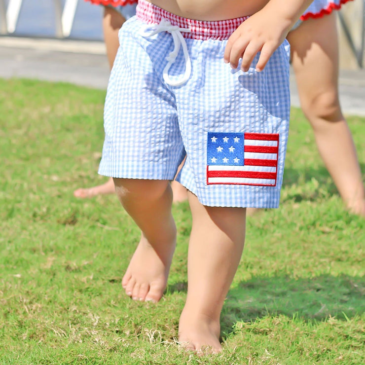 Flag Boy Swim Trunk Blue Gingham