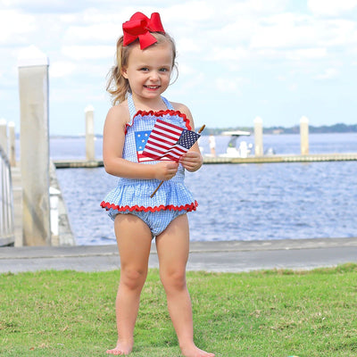 Flag One Piece Ruffle Swimsuit Blue Gingham