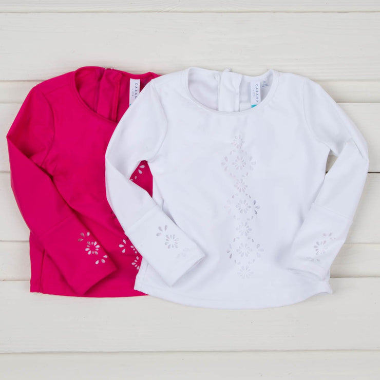 Girls Laser Cut Long Sleeve Rash Guard