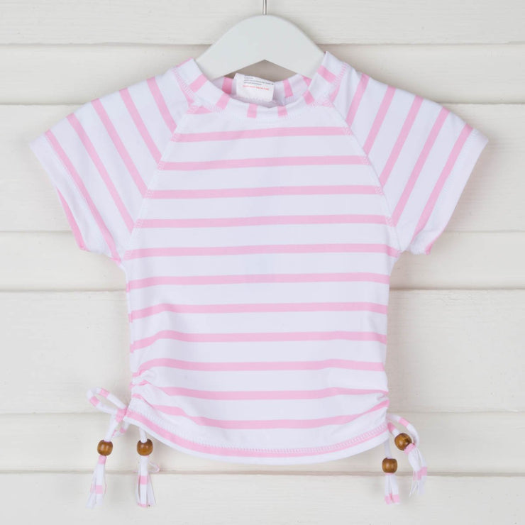 Girls Pink Stripe Short Sleeve Rash Guard