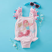 Mermaid One Piece Swimsuit Light Pink Stripe