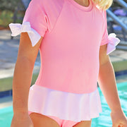 One Piece Peplum Rash Guard Cotton Candy