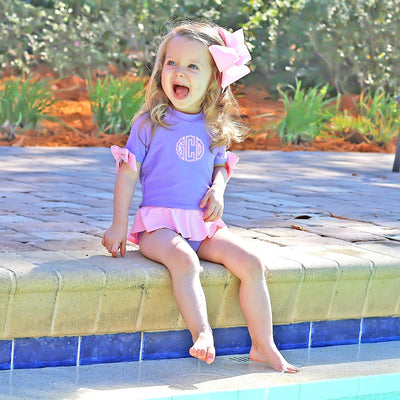 One Piece Peplum Rash Guard Lavender