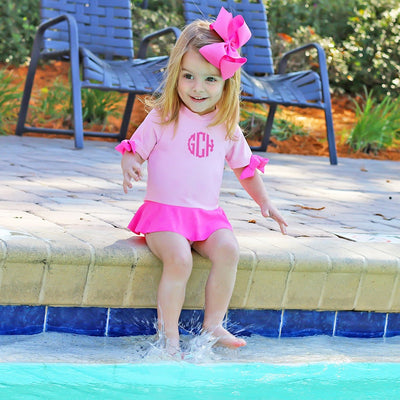 One Piece Peplum Rash Guard Light Pink