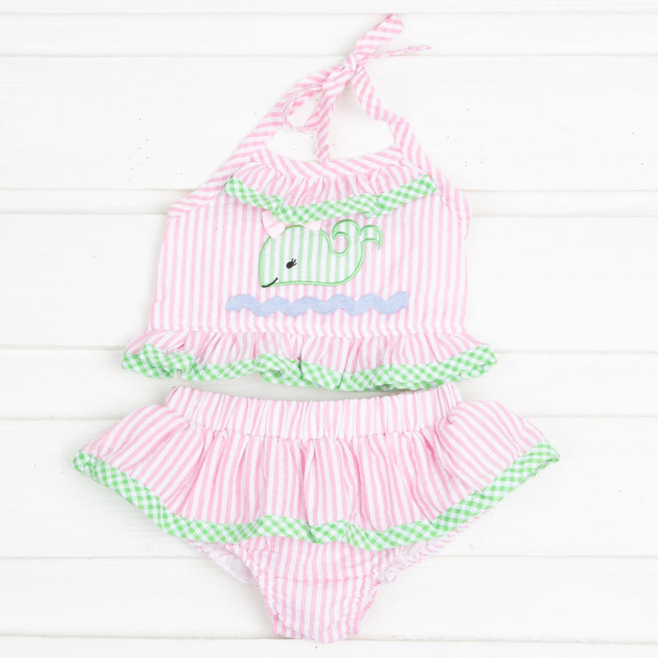 Pink and Green Whale Two Piece Swimsuit