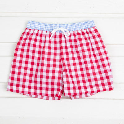 Red and Blue Gingham Swim Trunks