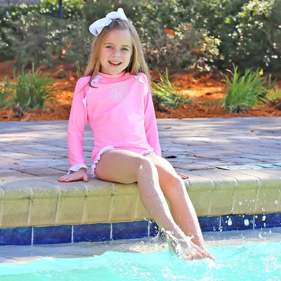 Ruffle Long Sleeve Rash Guard Set Cotton Candy