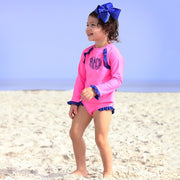 Ruffle Long Sleeve Rash Guard Set Hot Pink