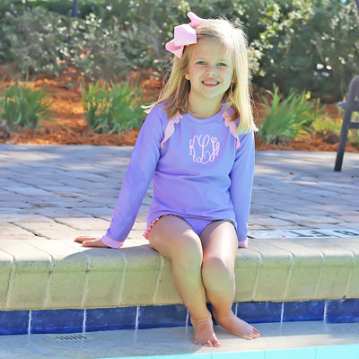 Ruffle Long Sleeve Rash Guard Set Lavender