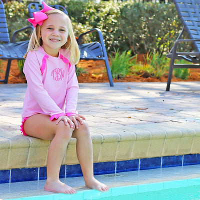 Ruffle Long Sleeve Rash Guard Set Light Pink