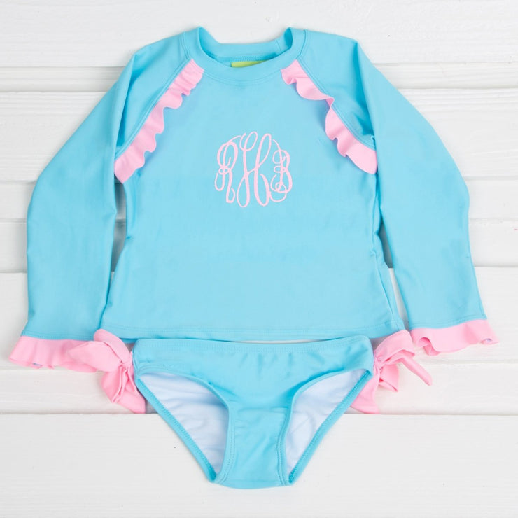 Ruffle Long Sleeve Rash Guard Set Turquoise