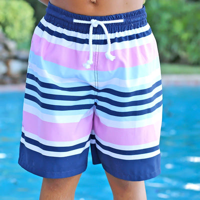 Stripe Swim Trunks Navy and Pink