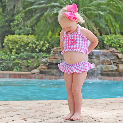 Two Piece Ruffle Swimsuit Pink and Purple Seersucker Check