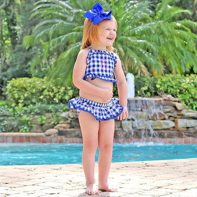 Two Piece Ruffle Swimsuit Royal Blue Seersucker Check