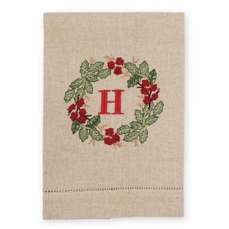 French Knot Holly Wreath Initial Hand Towel