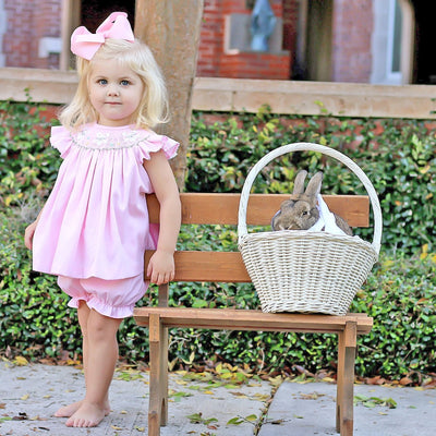 Bunny and Egg Smocked Bloomer Set Light Pink