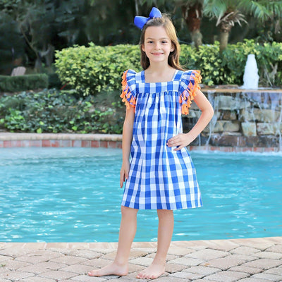 Poppy Dress Royal Blue Gingham