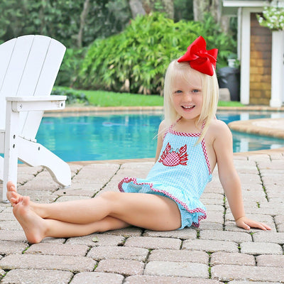 Crab One Piece Ruffle Swimsuit Turquoise Gingham