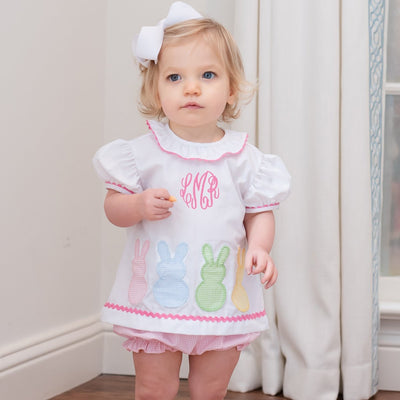 Bunny Peeps Bloomer Set White