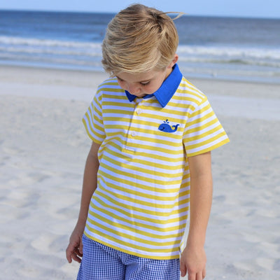Whale Embroidered Polo Yellow Knit Stripe