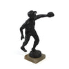Antique solid spelter baseball outfielder statue with alabaster base. back.